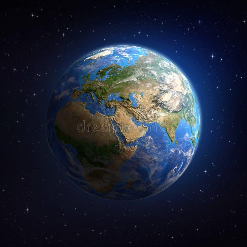 La terre de plan?te dans l'espace extra-atmosph?rique illustration stock
