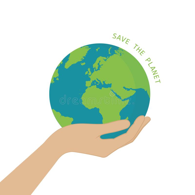 La terre de prise de main sauf le concept de planète illustration libre de droits