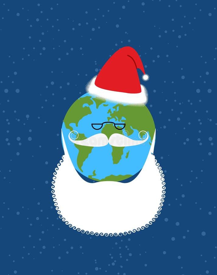 La terre de Santa Claus Monde-nouvelle année La terre avec la barbe et doit illustration stock