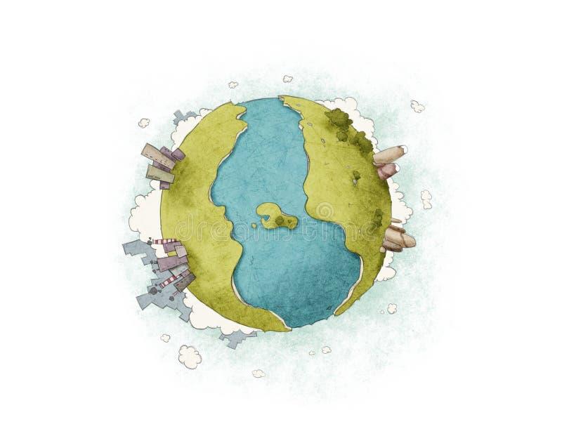 La terre deux côtés illustration stock