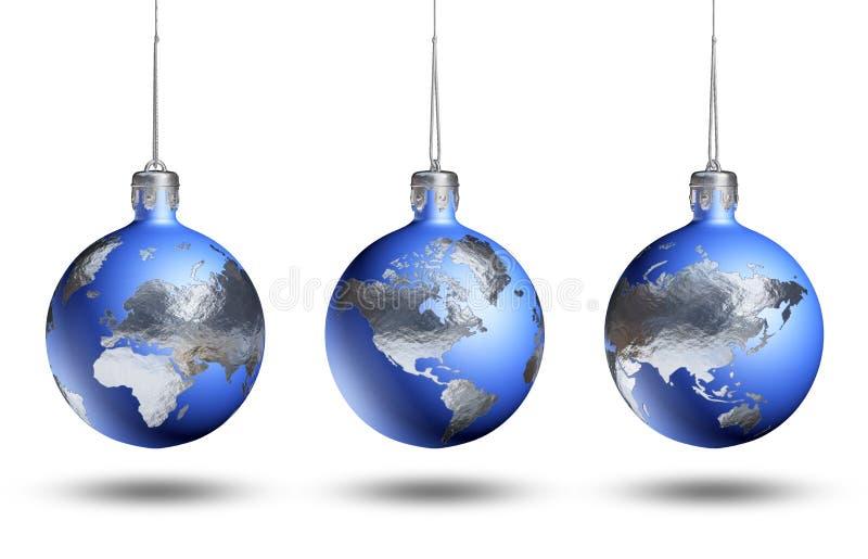 La terre en tant que babiole d'isolement de Noël. image stock