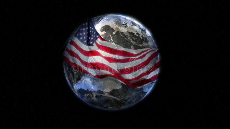 La terre enveloppée avec l'indicateur illustration stock