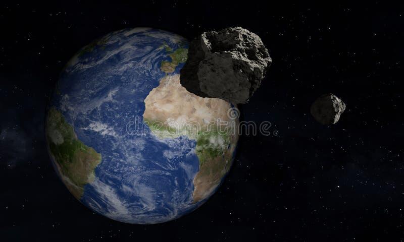 La terre et astero?de Th?me de l'espace illustration 3D illustration libre de droits
