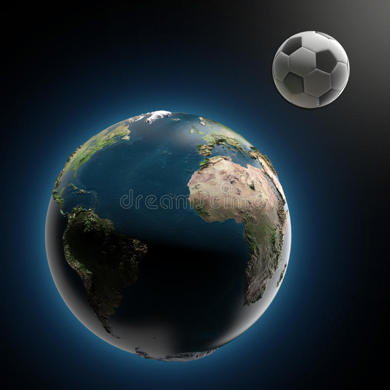 La terre et ballon de football (éléments meublés par la NASA) illustration stock