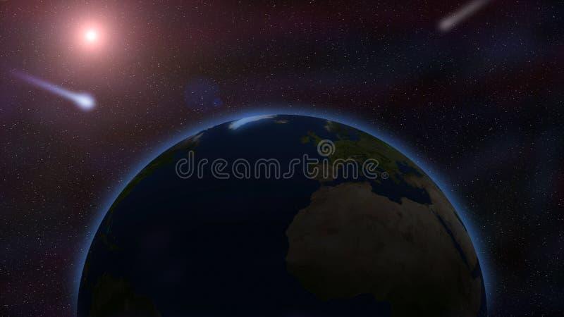 La terre et la comète volante contre le ciel étoilé de l'espace extra-atmosphérique illustration de vecteur