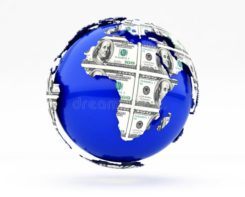 La terre et dollars illustration stock