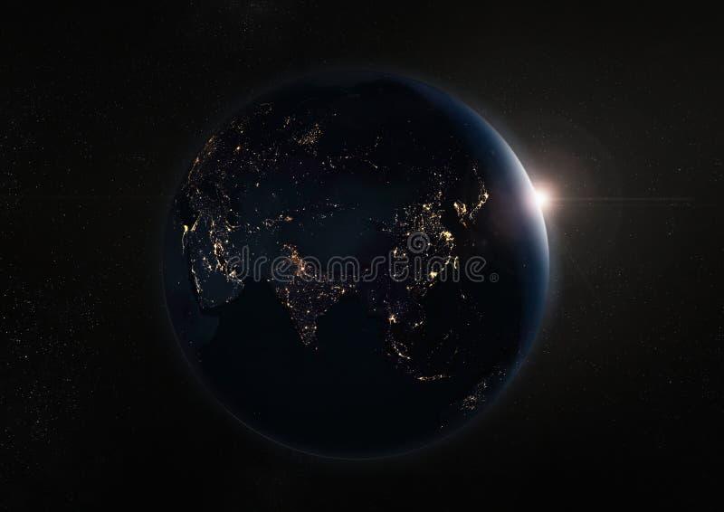 La terre et galaxie noires de nuit Éléments de cette image meublés par image stock
