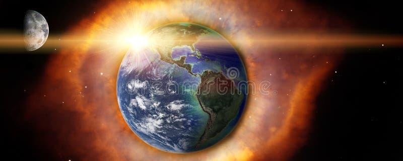 La terre et lune avec l'explosion dans l'espace illustration stock