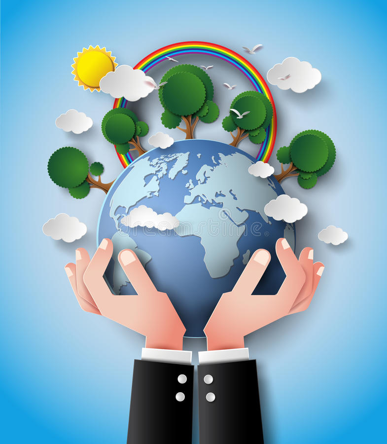 La terre et main vertes d'Eco illustration libre de droits
