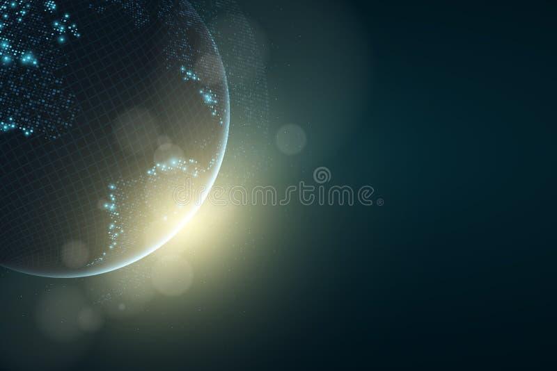 La terre futuriste de planète Carte rougeoyante des points carrés abrégez le fond Composition en espace sunlight De pointe Carte  illustration stock