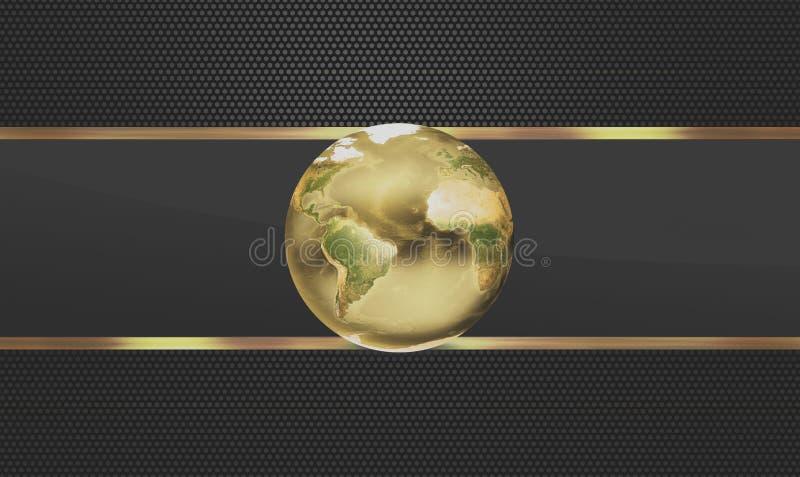 La terre globale 3d d'or du monde rendent illustration libre de droits