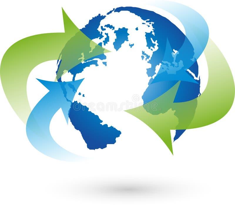 La terre, globe, globe du monde, flèches, logo illustration de vecteur