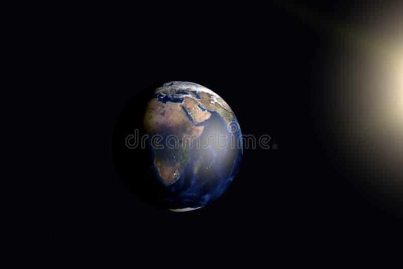 La terre jour et nuit avec le soleil photo libre de droits