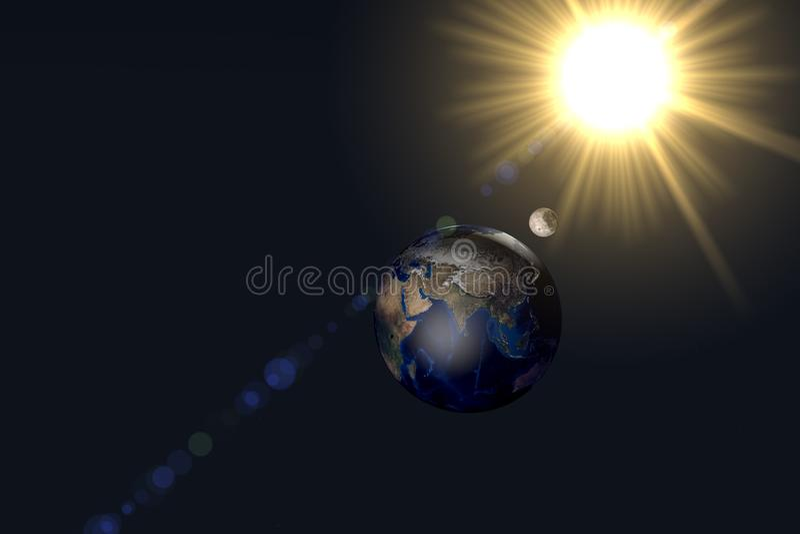 La terre jour et nuit avec le soleil et la lune images libres de droits