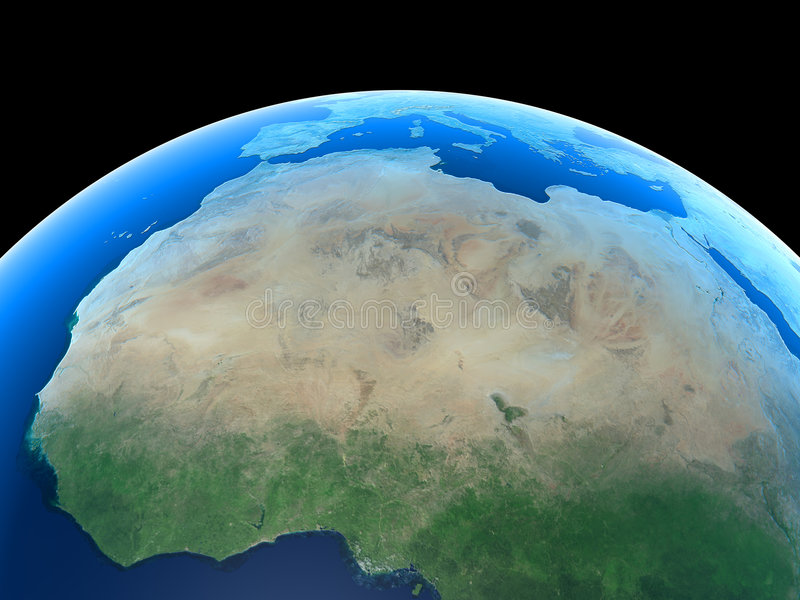 La terre - l'Afrique du Nord et le Sahara illustration libre de droits