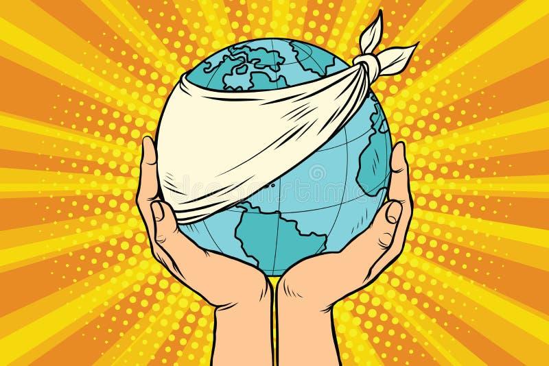 La terre malade, écologie et nature de planète illustration libre de droits