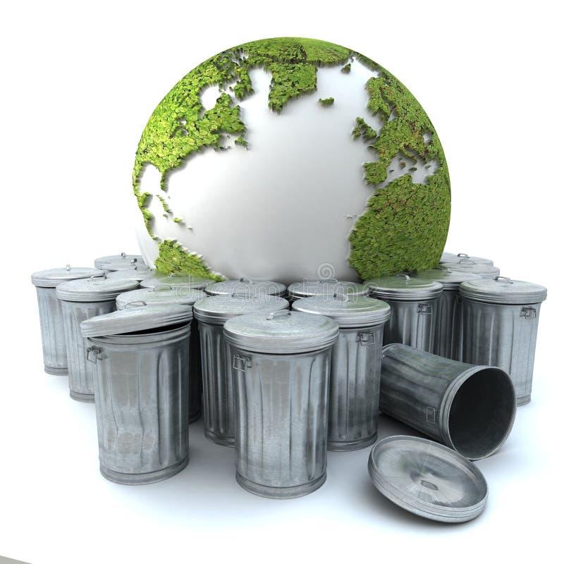 La terre malade dans la poubelle illustration de vecteur