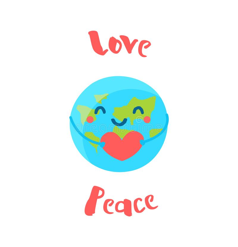 La terre mignonne tient un coeur sur le fond blanc Style plat Illustration de vecteur illustration libre de droits