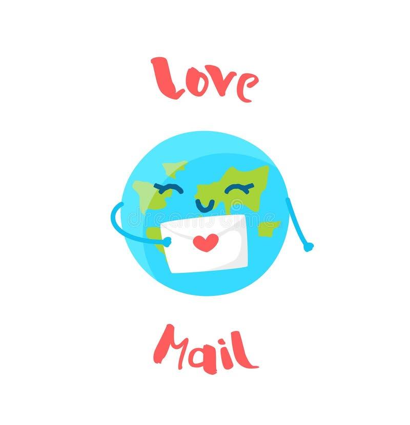 La terre mignonne tient une lettre d'amour sur le fond blanc Style plat Illustration de vecteur illustration libre de droits