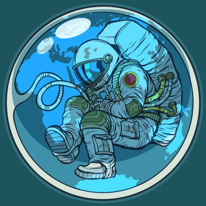 La terre nouveau-née d'astronaute et de planète Environnement de nature d'humanité illustration libre de droits