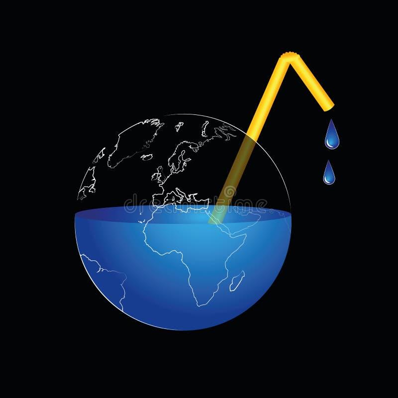 La terre perd l'eau par la paille illustration libre de droits