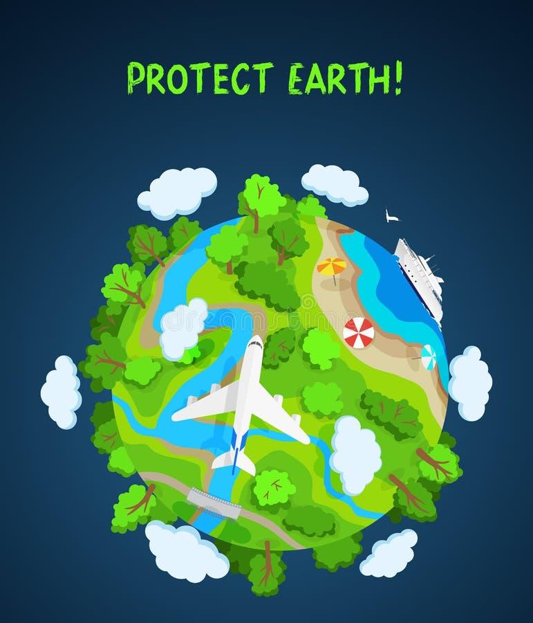 La terre protègent le concept, le globe de planète avec des arbres, les rivières et les nuages illustration stock