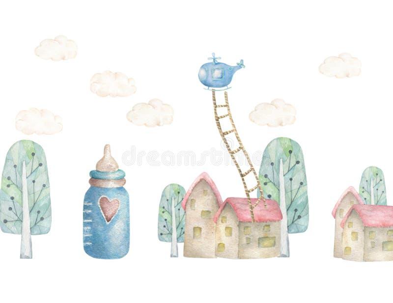 La terre rêveuse de bébé avec treen et peu de maison, strairs de l'hélicoptère NAD Illustration d'enfants Ville mignonne d'aquare illustration de vecteur
