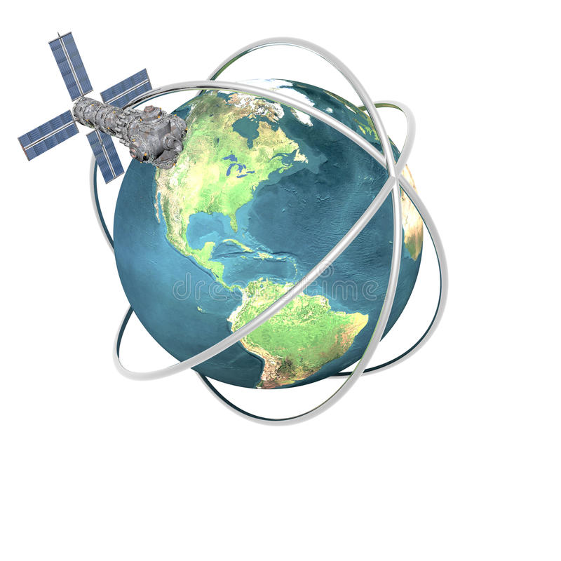 la terre spoutnik satellite orbital illustration stock