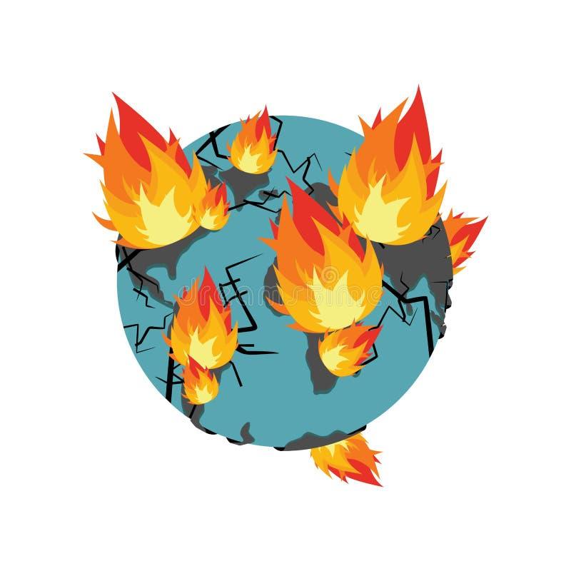La terre sur l'incendie La planète brûle désastre doomsday illustration stock