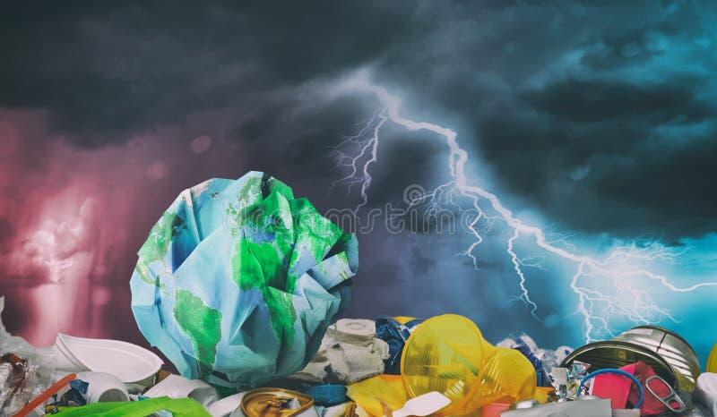 La terre sur les déchets en plastique Concept d'écologie illustration de vecteur