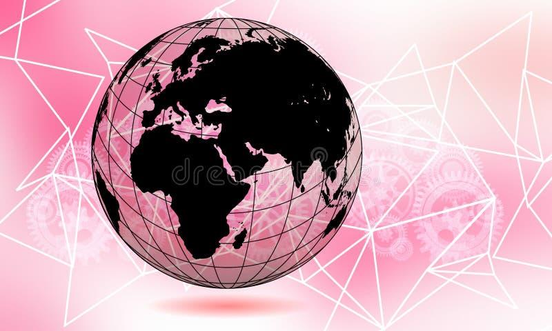 La terre transparente de globe du monde Concept d'affaires de t?l?communications mondiales Image color?e parultraviolet Couleur d illustration de vecteur