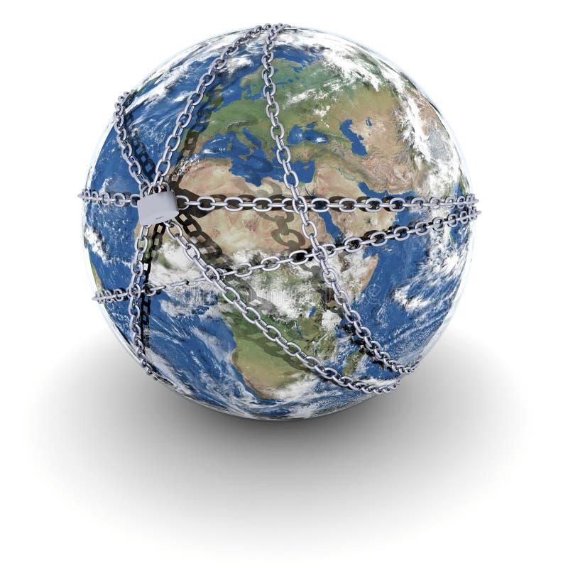 La terre a verrouillé dans les réseaux illustration stock