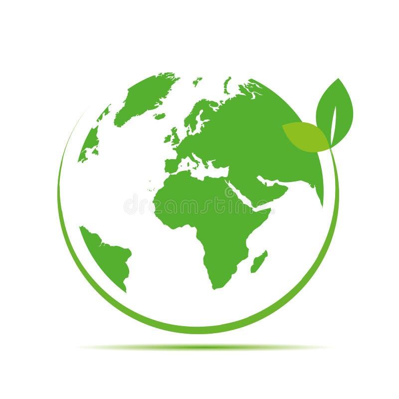 La terre verte avec l'icône verte de feuille illustration de vecteur