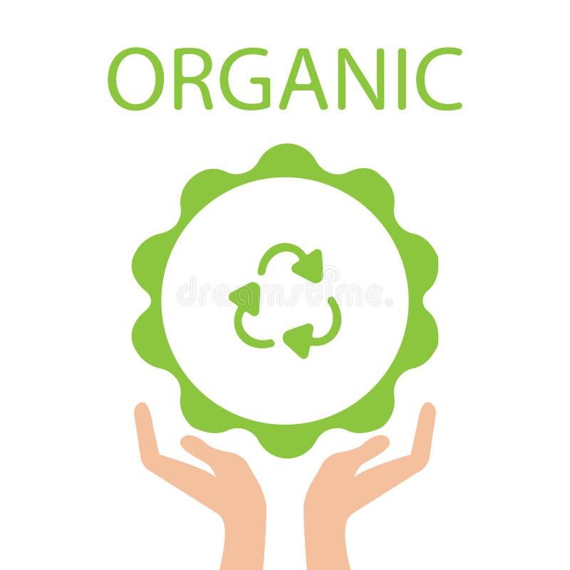 La terre verte d'Eco, participation de main réutilisent le symbole Illustration de vecteur illustration de vecteur