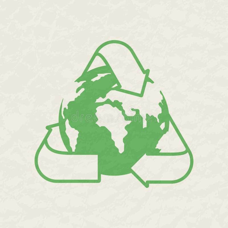 La terre verte de planète et une réutilisation se connectent un fond blanc avec une texture Concept environnemental illustration stock