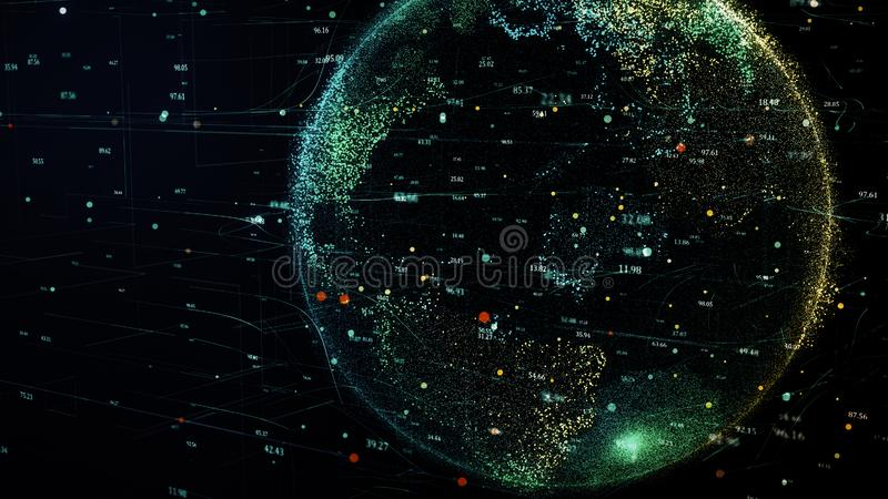 La terre verte de planète tournant dans le réseau futuriste global de cyber illustration de vecteur