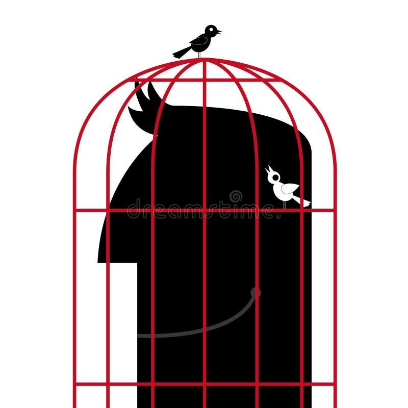 La testa è in un birdcage Due uccelli sono fuori della gabbia illustrazione vettoriale