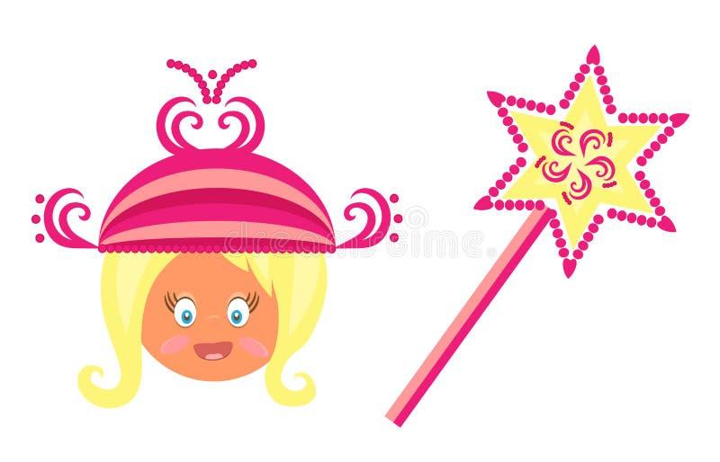 La testa bionda della bambina con una principessa rosa illustrazione vettoriale
