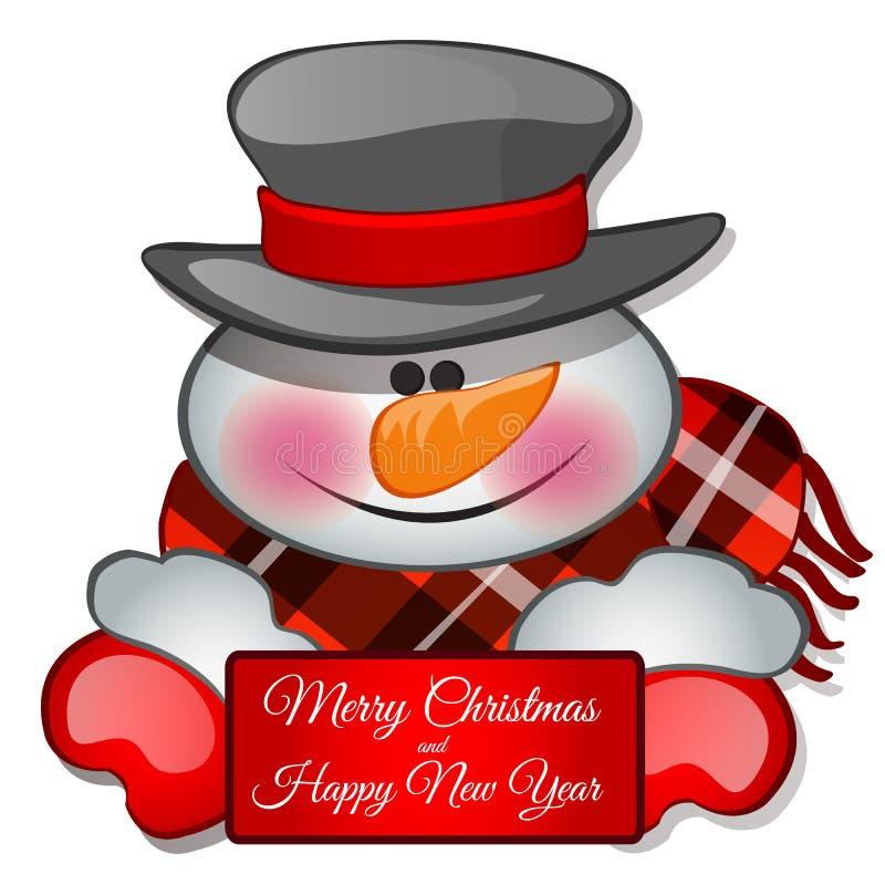 La testa degli snowmans nel tophat Schizzo per la cartolina d'auguri, il manifesto festivo o gli inviti del partito gli attributi royalty illustrazione gratis
