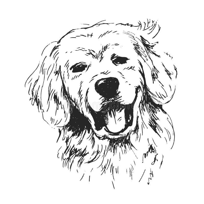 La testa del cane di schizzo della mano illustrazione vettoriale
