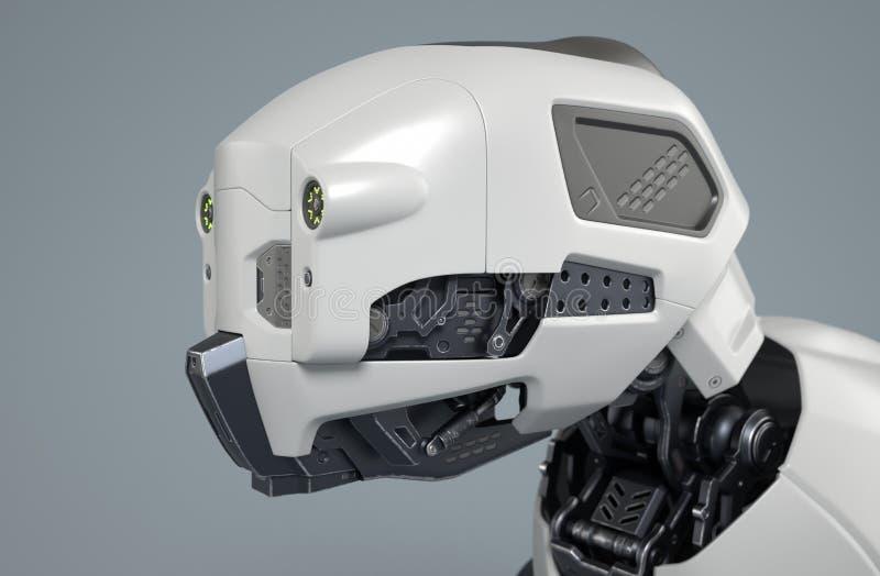 La testa del cane del robot su un fondo grigio illustrazione vettoriale
