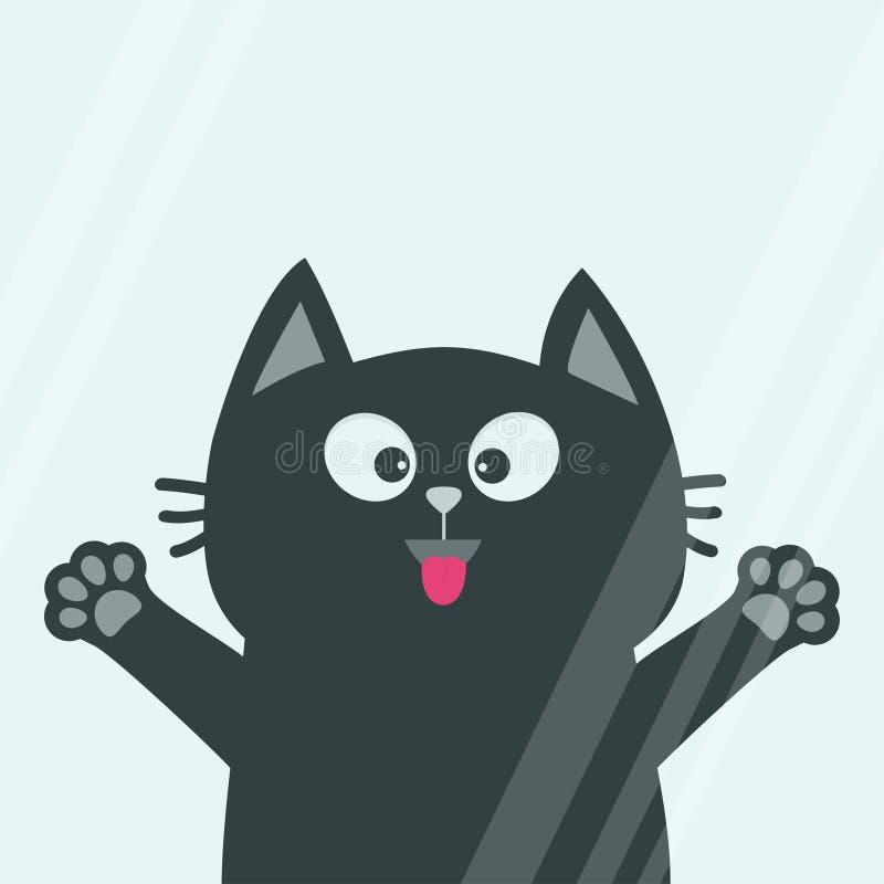La testa del fronte del gatto nero, siluetta della stampa della zampa della lingua lecca il vetro di finestra Adottimi Personaggi illustrazione di stock