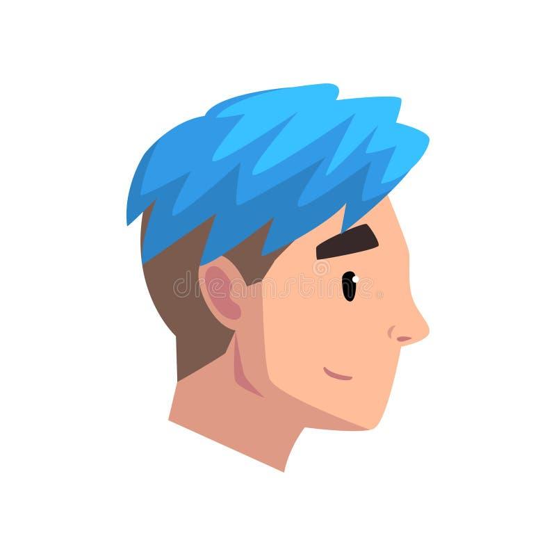 La testa del giovane con taglio di capelli d'avanguardia, profilo del tipo con il blu ha tinto l'illustrazione di vettore dei cap illustrazione vettoriale