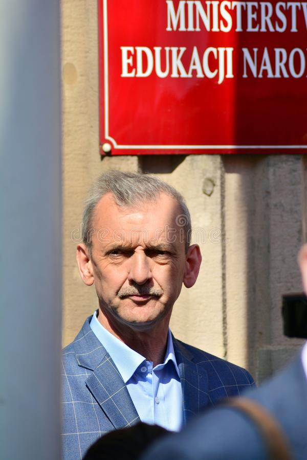 La testa dell'unione polacca Slawomir Broniarz di Teachers' fotografia stock libera da diritti
