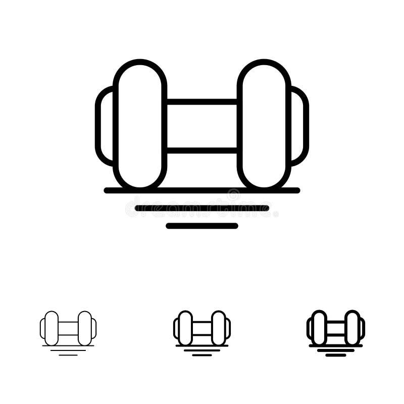 La testa di legno, forma fisica, palestra, solleva la linea nera audace e sottile insieme dell'icona royalty illustrazione gratis