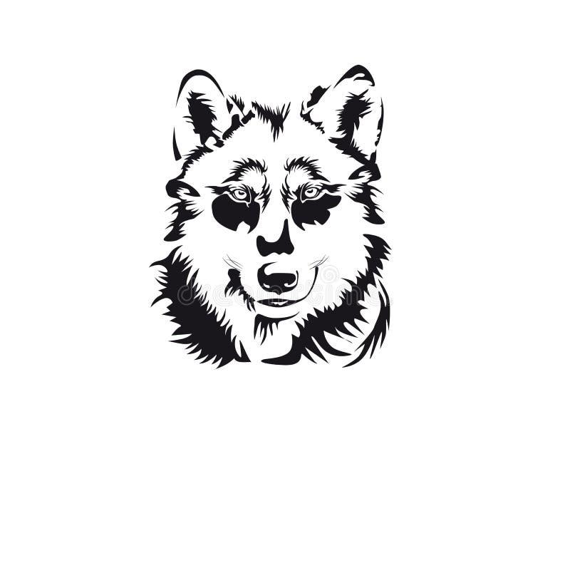 La testa di un lupo Un bello logo Illustrazione di vettore fotografia stock