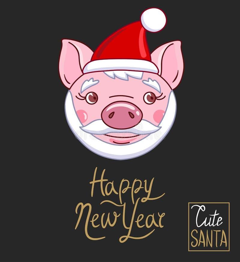 La testa di un porcellino condito in un cappello, in una barba e nei baffi di Santa Claus royalty illustrazione gratis