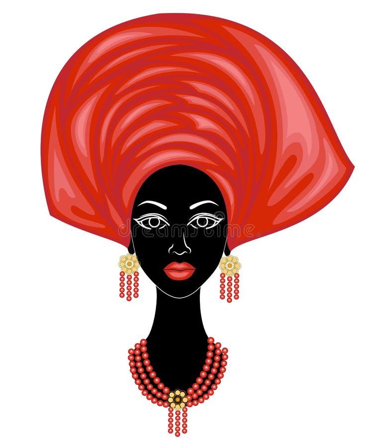 La testa di una signora piacevole Sulla testa di una ragazza afroamericana ha appeso un fazzoletto luminoso, turbante La donna ?  illustrazione vettoriale