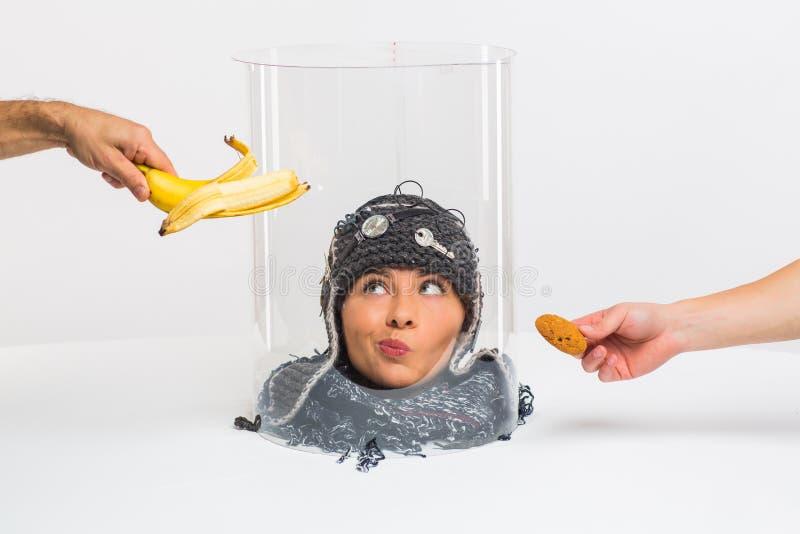 La testa femmina vede il cibo, ma non può morderlo perché è sotto un cappello trasparente Restrizioni Concettualmente immagini stock