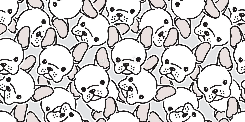 La testa senza cuciture del carlino di vettore del bulldog francese del modello del cane ha isolato il bianco del fumetto di ripe illustrazione di stock